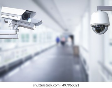 3d rendering cctv camera or security camera on corridor background