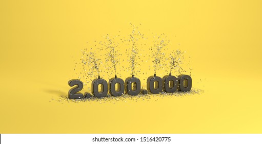 3D rendering celebration of 2 millions subscribers yellow background