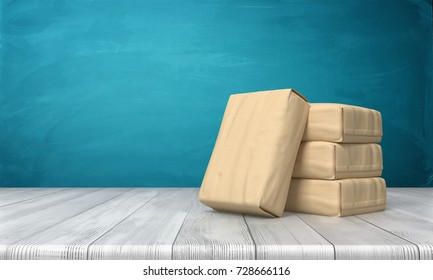 3d rendering of a cement bag leaning over three other stacked packs on a wooden table on blue background. Construction supplies. Building necessities. Cement suppliers.