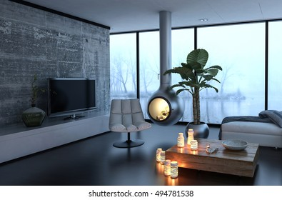 3d rendering of chair and various lit candles near fireplace in recreation room of luxury home