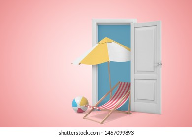 3d rendering of chaise-longue with beach ball beside under big umbrella, all standing in white doorway on pink copyspace background. Beach holiday. Relax and rehab. Travel agency.