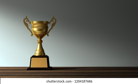 3d rendering champion golden trophy placed on table