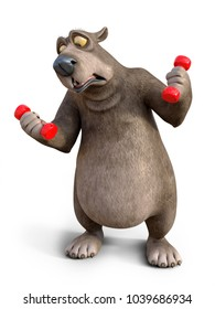 3D rendering of a charming cartoon bear exercising with dumbbells. He looks like it's too heavy. White background.