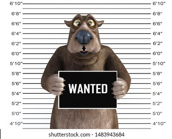 3D rendering of a charming cartoon bear holding a Wanted sign while getting his mug shot, looking a bit confused.