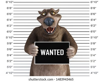 3D rendering of a charming happy smiling cartoon bear holding a Wanted sign while getting his mug shot.