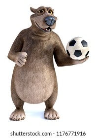 3D rendering of a charming smiling cartoon bear posing with a soccer ball in his hand. White background.