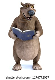 3D rendering of a charming smiling cartoon bear holding a book in his hand that he is reading. It's storytime! White background.