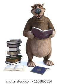 3D rendering of a charming smiling cartoon bear holding a book in his hand. A pile of books are on the floor next to him. It's storytime! White background.