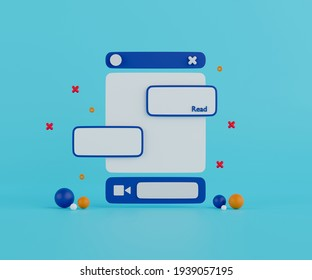 3d rendering chat application interface on light blue background.