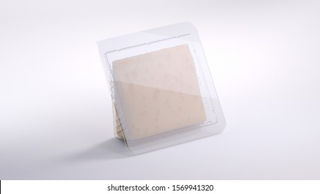 3d rendering of cheese wedge in transparent container. Closed. Triangle shape plastic wrap. Realistic products packaging mockup with soft shadows. Stands on bright white background. Side view