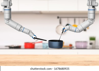 3d rendering chef robot cooking in kitchen