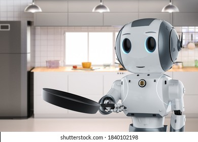 3d rendering chef robot cooking with frying pan