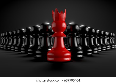 3D rendering chess army with Special Red Chess in the front Close Up view black background