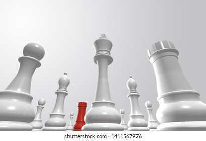 3D rendering of chess pieces surrounding one from the opposite team