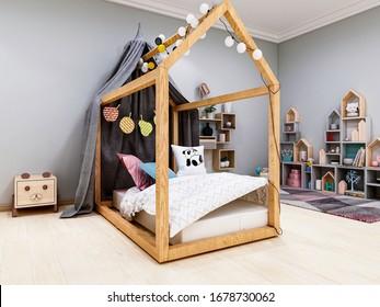 3D rendering, a children's bedroom full of cartoon fun, a children's game paradise