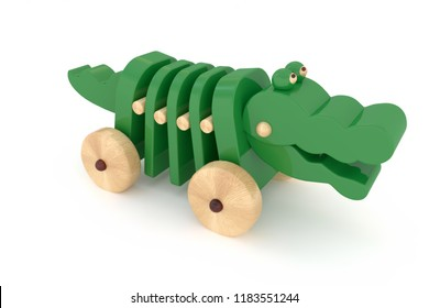 3d rendering children's toy green crocodile dog on castors pulli