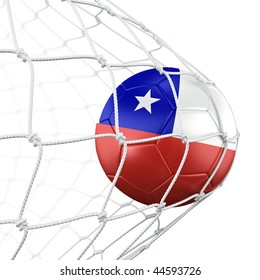 3d rendering of a Chilean soccer ball in a net