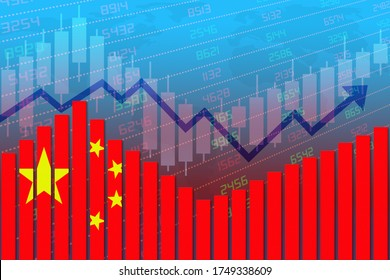 3D rendering of China flag on bar chart concept of economic recovery and business improving after Covid-19 crisis or other catastrophe as economy and businesses reopen again.