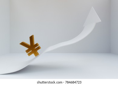 3D rendering of Chinese Yuan sign with increaing arrow