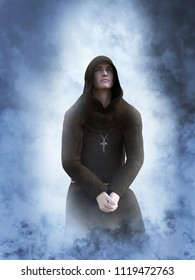 3D rendering of a christian monk kneeling while praying or contemplating surrounded by smoke or clouds like it's a dream or in heaven.