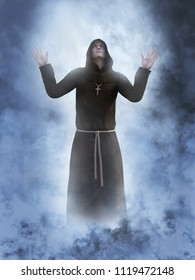 3D rendering of a christian monk worshipping with his hands in the air surrounded by smoke or clouds like it's a dream or in heaven.