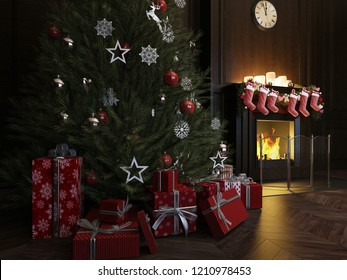 3d rendering Christmas Interior, Xmas Tree Fireplace Light, wood panel