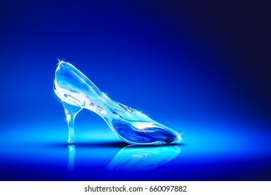 3D Rendering of Cinderella's glass slipper on a blue background