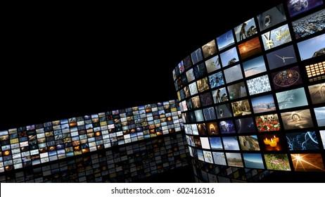 3d rendering. Cinema entertainment video wall