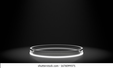 3D Rendering of circle shape glossy glass pedestal with glowing led underneath. Simple sleek product display podium.