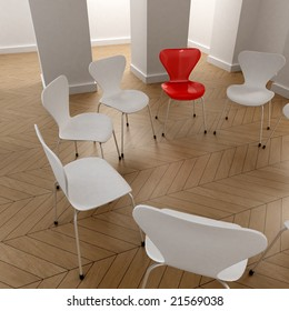 3D rendering of a circle of white chairs and a red one