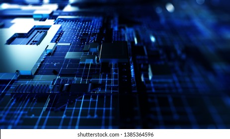 3D Rendering Circuit board futuristic server code processing. Blue technology background with bokeh.