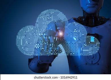 3d rendering circuit cloud with humanoid robot