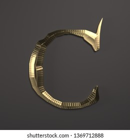 3d rendering classic capital letter C. Premium calligraphic label design. Old style typography. Detailed golden colored chrome  filigree on black background. Decorative ornamental  font