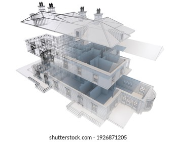3D rendering of classic house design progress