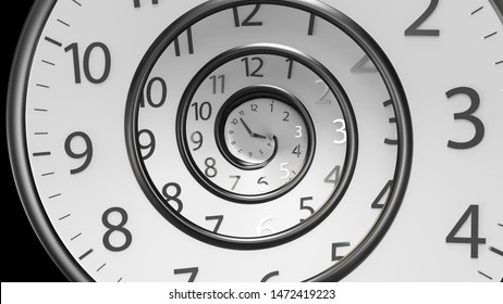 3D Rendering Classic Round Clock with  infinity time