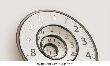 3D Rendering Classic Vintage Round Clock Spinning forward or backward with infinity time. Old round Clock isolated on background with Clipping Path.