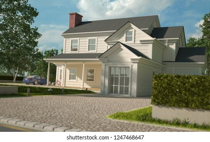 3D rendering of a classical white house