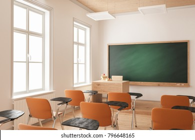3d rendering of Classroom with Orange Chairs
