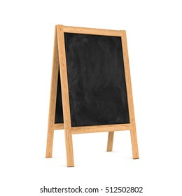 3d rendering of a clean black chalkboard easel in the wooden frame isolated on a white background, three quarters view. Education system. School supplies. Seminars and conferences. Elimination of