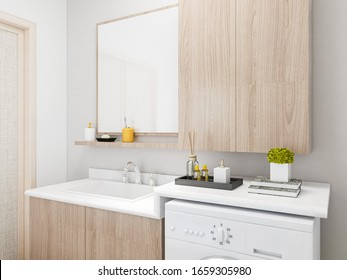 3D rendering, clean modern residential bathroom and toilet design with washbasin, washing machine and bathtub equipment.