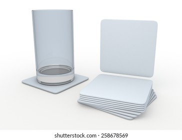 3D Rendering Clean White Square Table Coasters Template in Isolated Background with Work Paths, Clipping Paths Included.