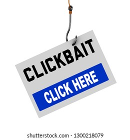 3d rendering of clickbait click here message hook presenting clickbait concept
