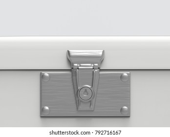 3d rendering. close up on key locked part of safty lockbox with copy space background.