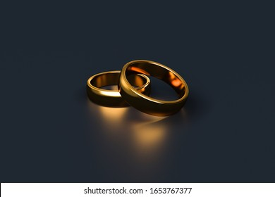 3d rendering, close up view of two realistic couple gold wedding ring, isolated on white background.