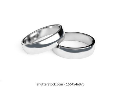 3d rendering, close up view of two realistic couple silver wedding ring, isolated on white background.