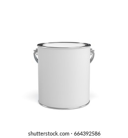 3d rendering of a closed paint bucket isolated on white background. Painting tools. DIY. Homebuilding and renovation.