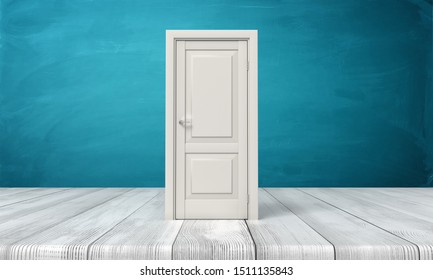 3d rendering of closed white door standing on wooden floor near blue wall. Architecture and design. Interior renovation. Opening new opportunities.