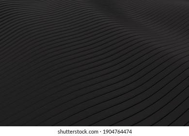 3D rendering closeup abstract black silver smoked metallic stripe slicing wavy background. Minimalism illustration concept. Graphic design wallpaper and backdrop