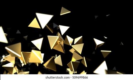 3d rendering close-up futuristic gold background