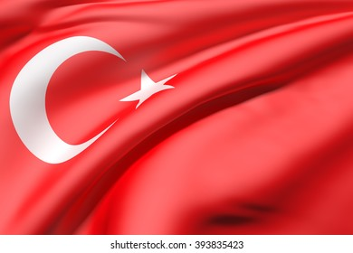 3d rendering of a close-up of volume red Turkey flag waving in light